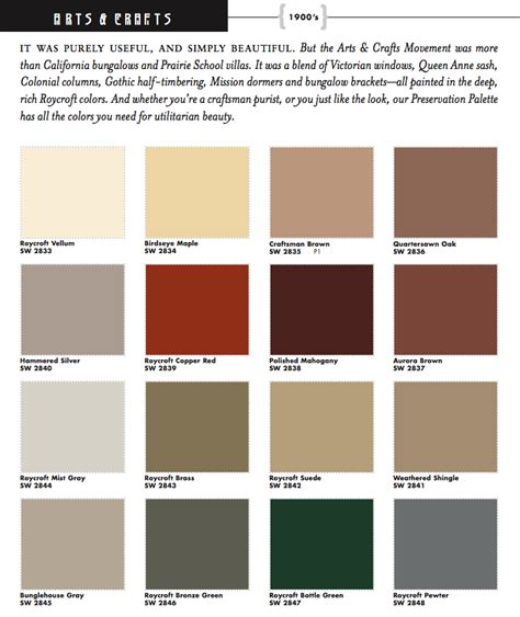 sherwin williams color schemes sherwin williams arts crafts historic paint colors