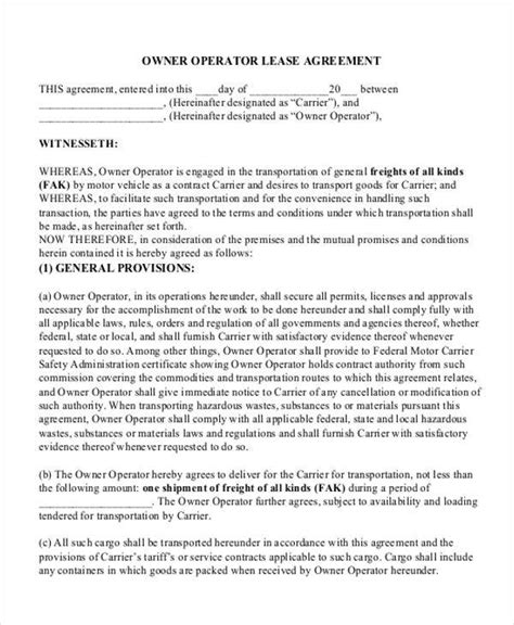 11 Truck Lease Agreement Sles Sle Templates Food Truck Lease Agreement Template