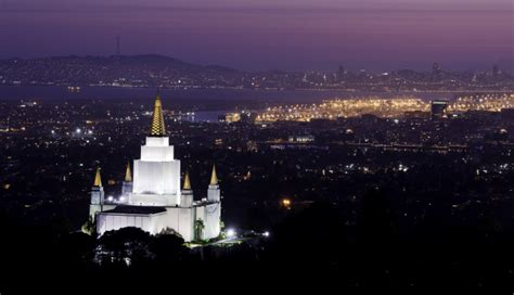 Oakland California Temple In The Evening Oakland Temple Lights