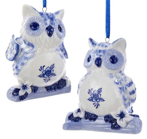 delft blue owls old world christmas holiday ornaments set