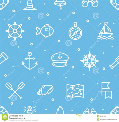 nautical pattern vector nautical sea background pattern vector stock vector