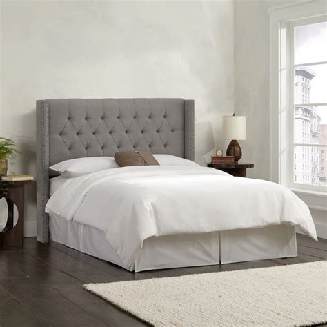 shop skyline furniture linen grey diamond tufted wingback
