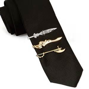 Set Tie Tie Clip mens 3pc gold silver weapons tie clip collection set