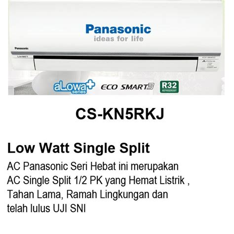 Ac Panasonic 1 2 Pk Alowa jual ac panasonic 1 2 pk cs kn5rkj low watt eco smart
