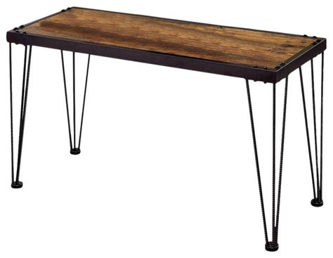 industrial metal side table industrial side table black metal frame triple bar legs