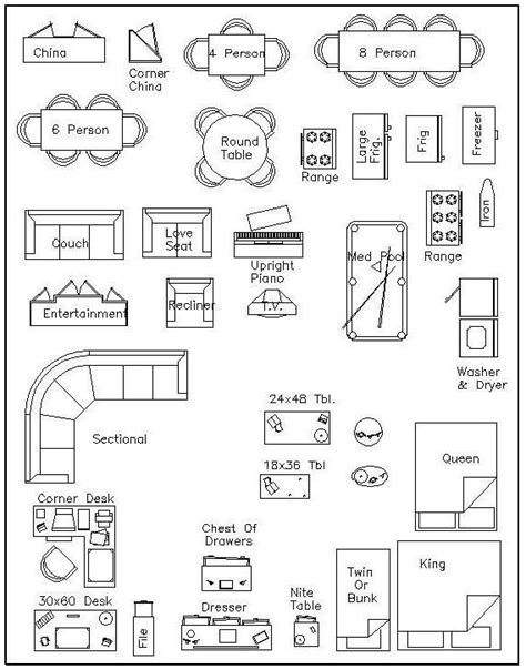 Furniture Templates For Floor Plans | free 1 4 furniture templates dream home pinterest