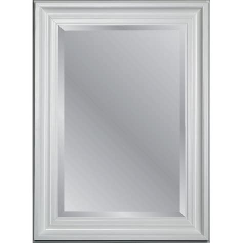 white frame bathroom mirror allen roth 95065 31 75 in x 43 75 in white beveled