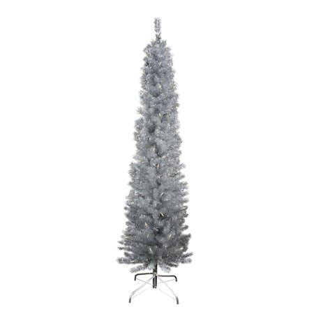walmart online shopping pencil prelit trees 9 pre lit silver artificial tinsel pencil tree clear lights walmart