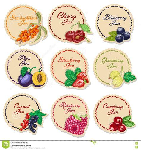 Etiketten Jam by Reeks Ge 239 Soleerde Etiketten Voor Jam Bessen Vector