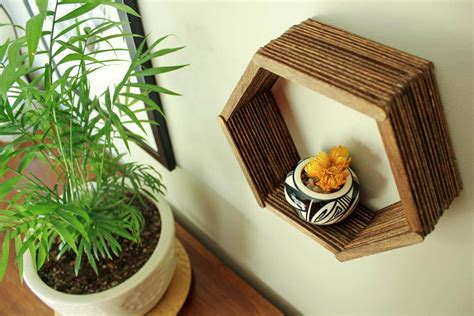 stick something to wall popsicle stick hexagon shelf easy diy wall