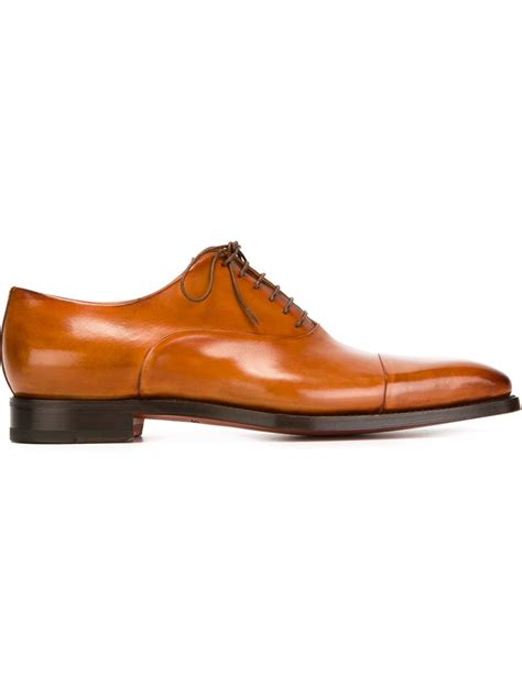 brown oxford shoes with santoni classic oxford shoes in brown for lyst