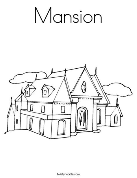 Mansion House Coloring Pages | mansion coloring page twisty noodle