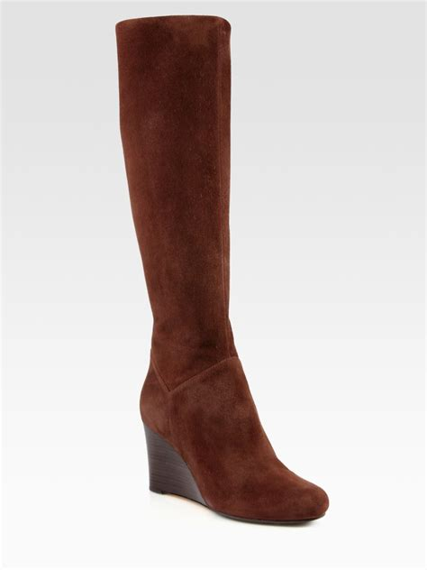 cole haan cora suede kneehigh wedge boots in brown