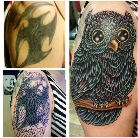 tattoo cover up tribal owl covering up some tribal by joe charles bullock
