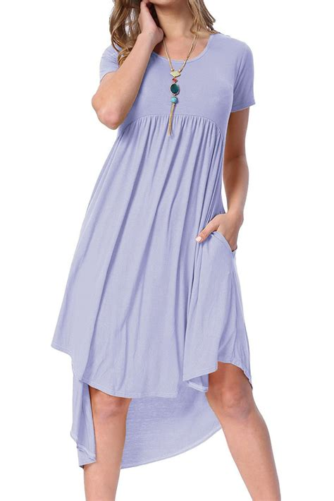 casual swing dress fashion mauve short sleeve high low pleated casual swing dress