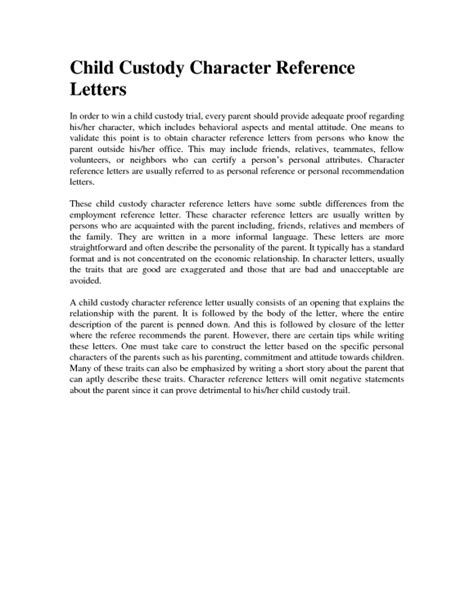 Character Reference Letter Parent Child Custody Letter Template Letter Template 2017