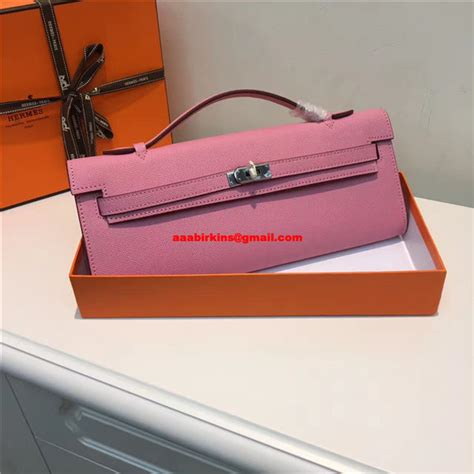 hermes cut 31cm epsom leather clutch pink 189 00 replica