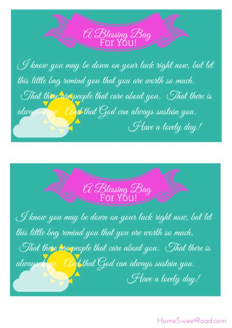 blessing card template 8 best images of blessing bags scripture printable note