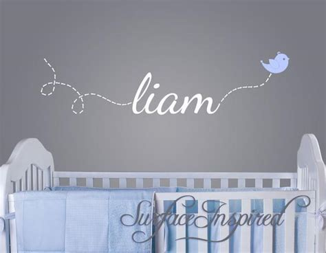wall stickers names custom name wall decal liam name with flying bird