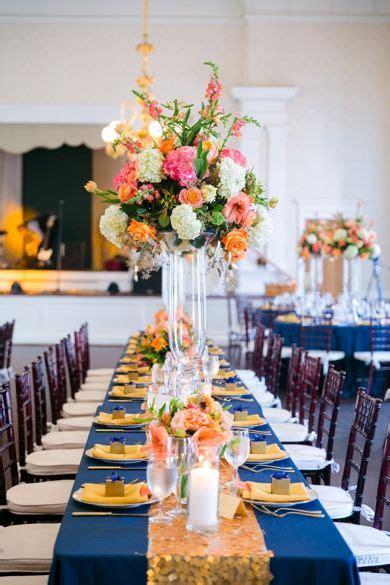 gold navy orange wedding decor dana cubbage weddings