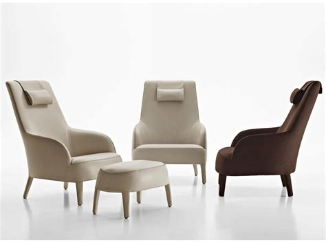 bergere upholstered fabric armchair with headrest febo