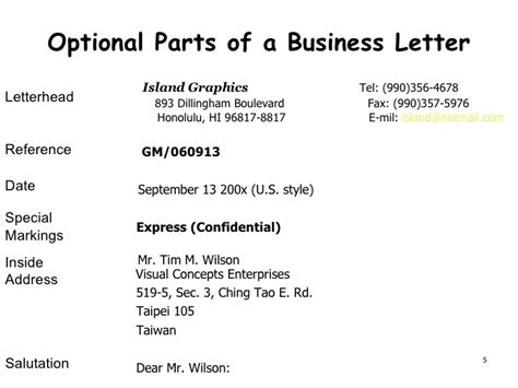 Optional Parts Of Business Letter Ppt presentation of business documents ch1