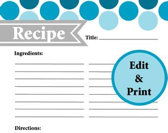 typable recipe card template popular items for page on etsy