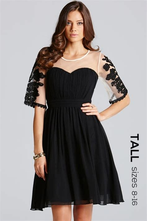 Sf 725 Flower Embroidery Flare black chiffon embroidered fit and flare dress from uk