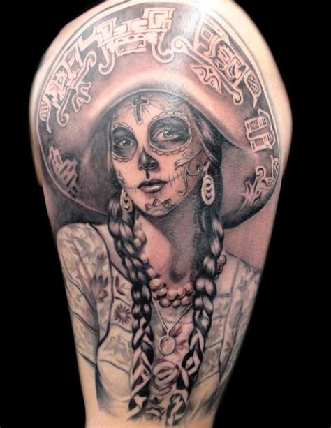 dead cowboy tattoo pictures to day of the dead with a cowboy hat instead of