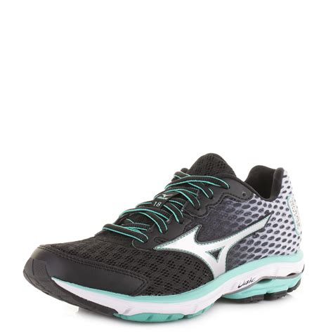 mizuno wave rider womens running shoes womens mizuno wave rider 18 black silver green running