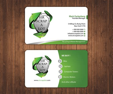 recycling cards business card design for sir scrap a lot recycling by