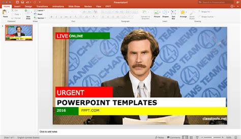 using a powerpoint template using a free breaking news generator to make an engaging