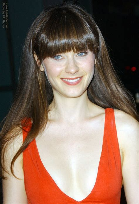 Light Brown Short Hair Zooey Deschanel Wearing Her Thick Mid Back Hair Sleek With