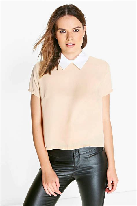 Collar Blouse by Amelia Contrast Collar Blouse
