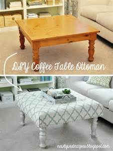How To Make An Ottoman Coffee Table Diy Ottoman From Coffee Table Diy And Crafts