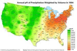 Precipitation Map United States by Acid Rain History Pollution Britannica Com