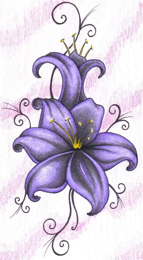 lily flower tattoo design wonderful purple design on paper truetattoos
