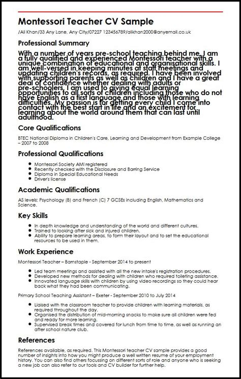 Sle Resume For Montessori Fresher Teaching Assistant Resume Sle 28 18 Images Place