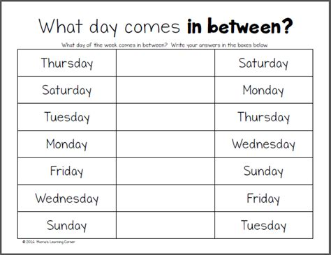 Days Of The Week Worksheet by Days Of The Week Worksheets Mamas Learning Corner