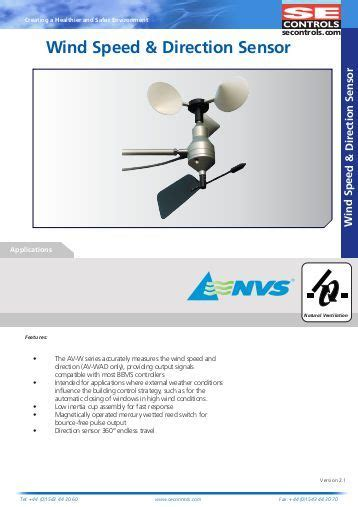 Wind Speed And Direction Sensor 1 20 technical report 99 13