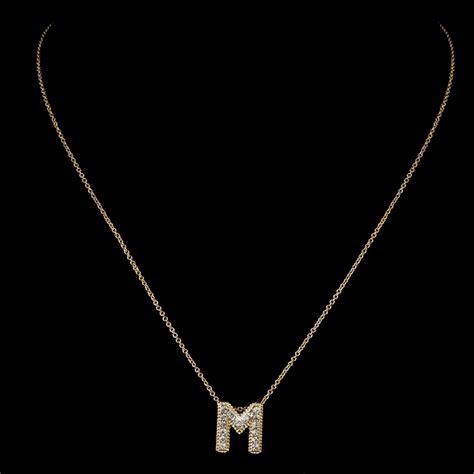 quot m quot clear rhinestone letter initial pendant necklace 1