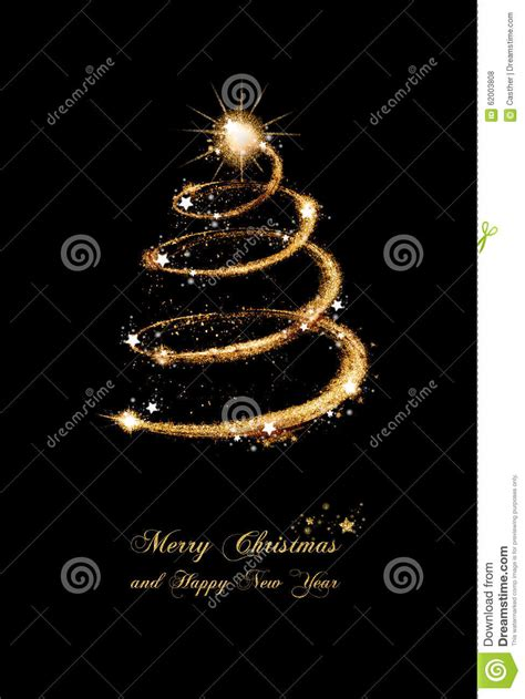 elegant gold glitter christmas tree greeting card stock illustration image