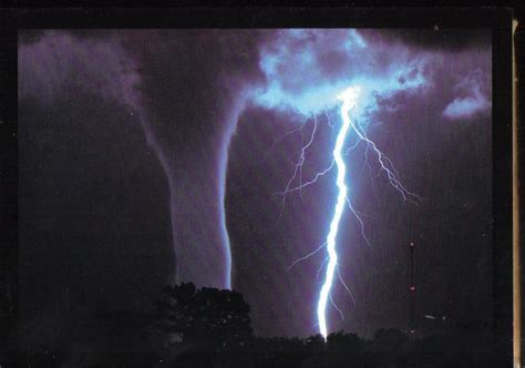 Waterspout With Lightning by Waterspout And Lightning Weather Phenomenon Postcard