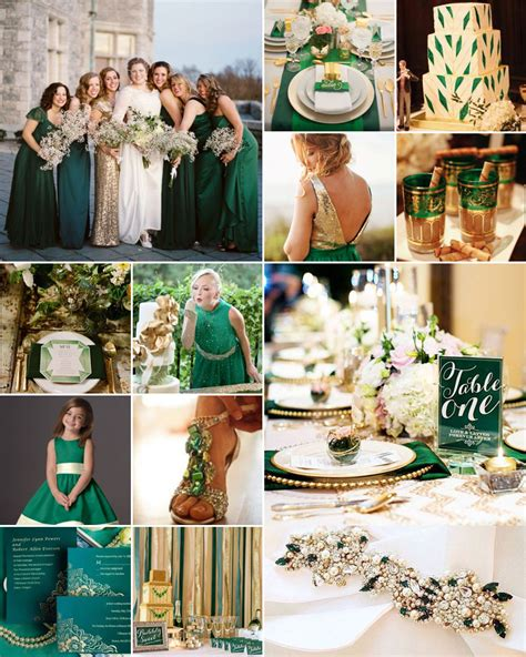 emerald green and gold weddings