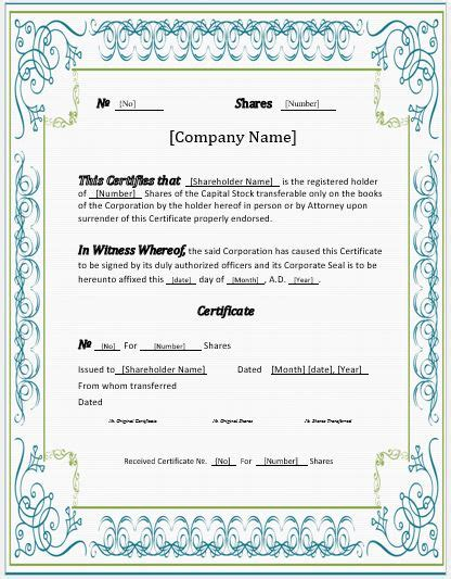Stock Certificates 2018 Templates For Ms Word Word Excel Templates Jssco Stock Certificate Templates