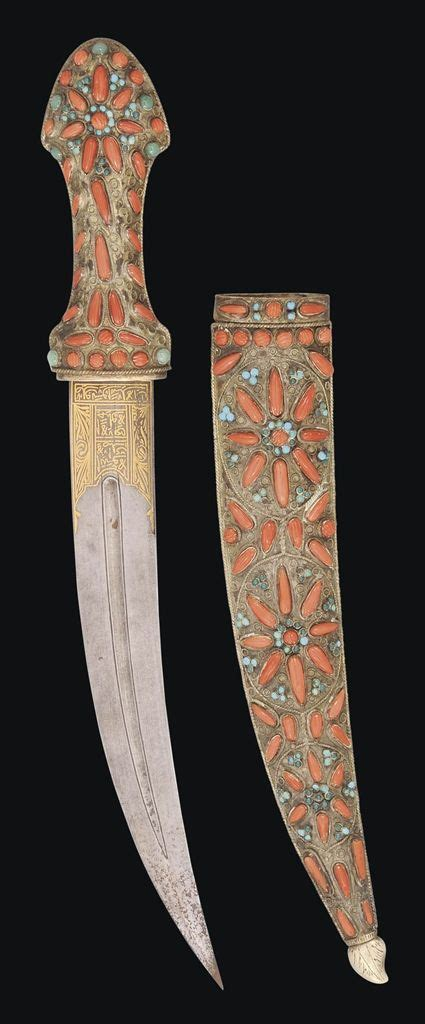 L Armée Ottomane by A Coral And Turquoise Inset Gold Damascened Dagger