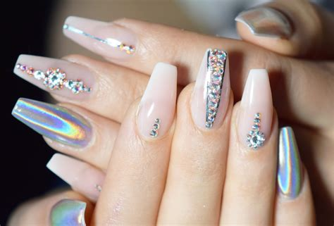 Gel Nail Extensions by Gel Nail Extension With Holo Powder And Stones April