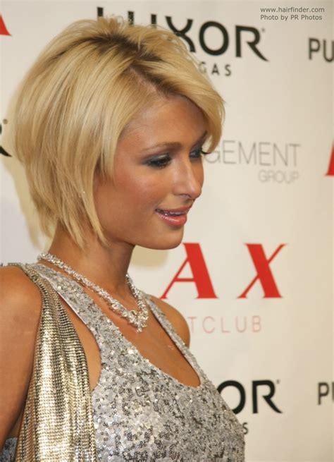 Paris Hilton's highly textured oval bob haircut