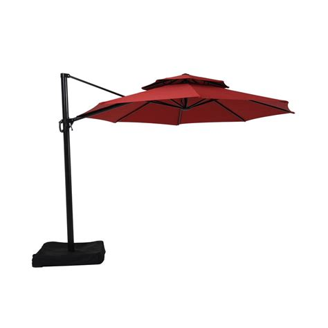 patio umbrellas at lowes garden treasures 11 ft x 11 ft offset octagon patio
