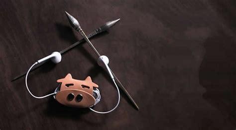 leather animal face headphone earphone wrap winder cord organizer feelgift